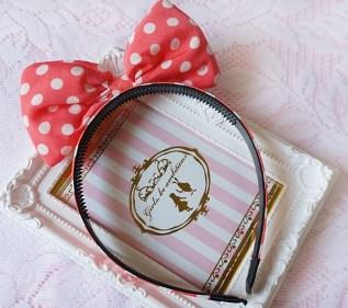 *OHLALA*韓國流行款-立體點點米妮蝴蝶結髮箍-桃