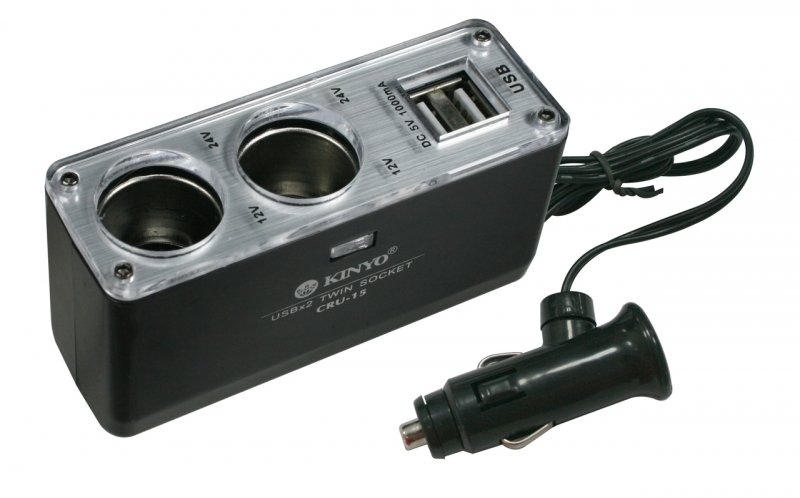 CRU-15*車用 USB 點煙器 擴充座/2孔車用點煙器+2孔USB充電擴充座/USB 延長線式 插孔/充電槽/電源擴充插座/1000mA