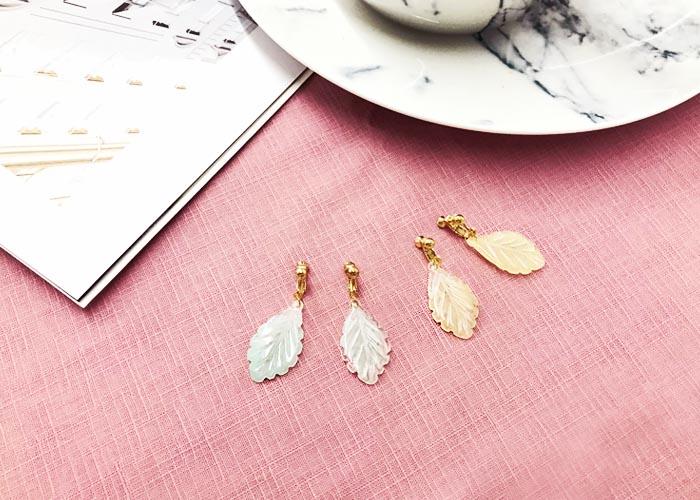 耳夾式耳環,葉子耳環,無耳洞耳環,韓國製,垂墜夾式耳環,韓妞最愛