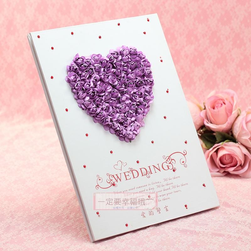 一定要幸福哦~~浪漫物語簽名本(紫)、婚禮小物、簽名筆、結婚用品