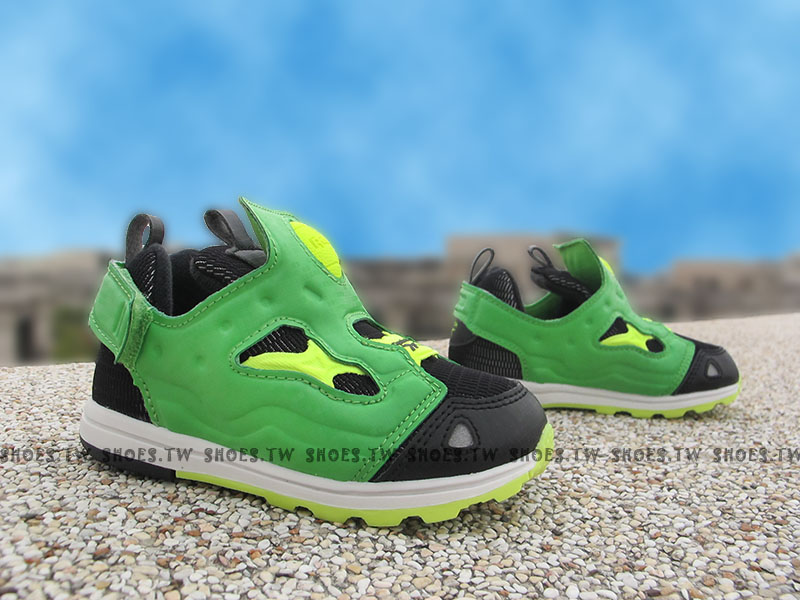 Shoestw【V69934】Reebok Pump Fury 小童鞋 黑墨綠 襪套 黏帶 小童