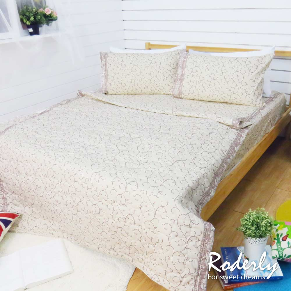 精梳純棉 雙人四件式涼被床包組-莫內花園-金/ 哇哇購