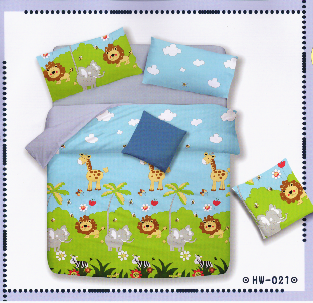 ?臺灣製?舒柔棉磨毛超細纖維床包組《HW-0021》5X6.2尺雙人床包組+兩用被 四件組◤彩虹森林◥