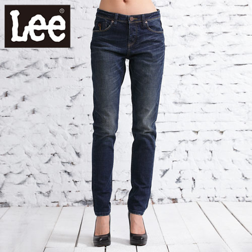 【Super Sales 褲款下殺↘2.5折】LEE 牛仔褲 439中腰標準合身窄管-女款(藍)