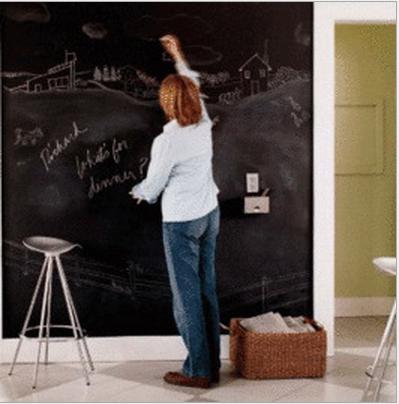 【壁貼王國】大型無痕黑板貼(無磁性) 60x200cm 附贈6支粉筆