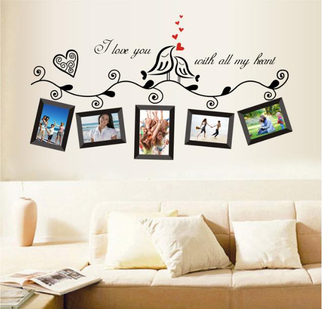 【壁貼王國】 相片貼系列無痕壁貼 《鳥相框/黑 - AY640B》