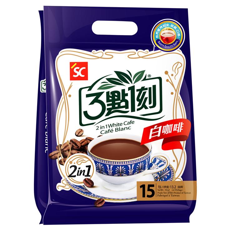 【3點1刻 白咖啡2in1(15包/袋)】嚴選上等咖啡豆研製而成,獨家烘培技術,讓咖啡不會酸澀焦苦