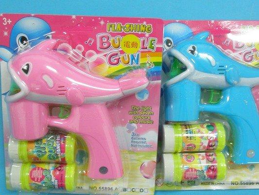 小海豚音樂電動泡泡槍+泡泡水 泡泡機(中大.附電池)/一支入 促[#150]