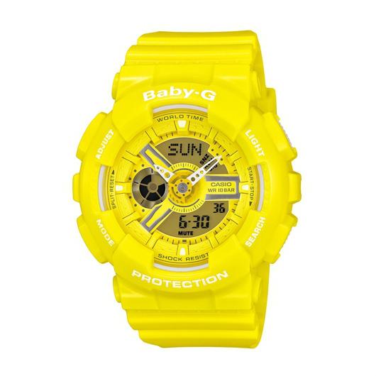 CASIO BABY-G BA-110BC-9A個性女孩雙顯流行腕錶/黃面43.4mm