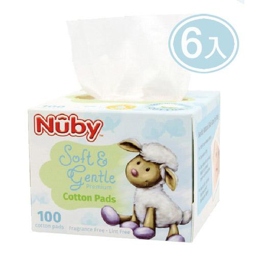 【奇買親子購物網】Nuby 乾濕兩用全棉布巾100抽X6盒