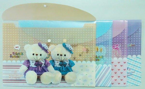 淇淇婦幼館【QQ332】卡通可愛小熊資料夾/文件夾/文件袋(釦子式)