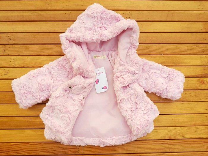 淇淇婦幼館【RD076】毛絨絨泰迪熊風格超保暖粉紅外套 尺寸6M-36M