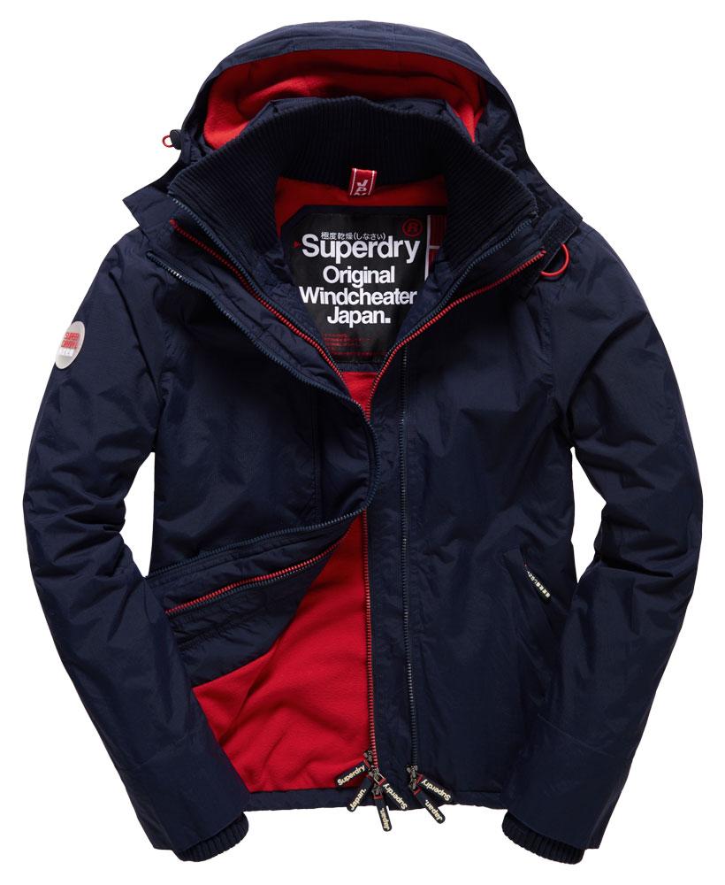 [男款] Outlet英國 極度乾燥 Pop Zip Hooded系列 男款 三層拉鍊 連帽防風衣夾克 海軍藍/叛逆紅