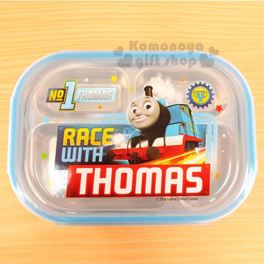 〔小禮堂〕湯瑪士 不鏽鋼餐盤式便當盒《藍.車頭.星星》304不鏽鋼材質