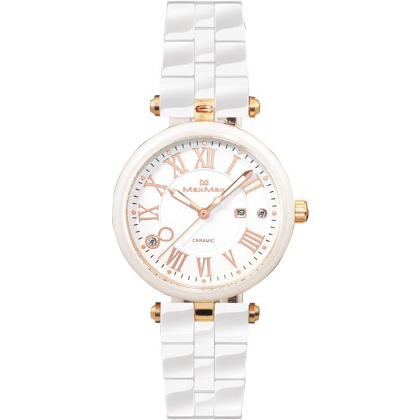 Max Max MAS5129-2清雅亮白玫瑰金刻度陶瓷腕錶/白面34mm