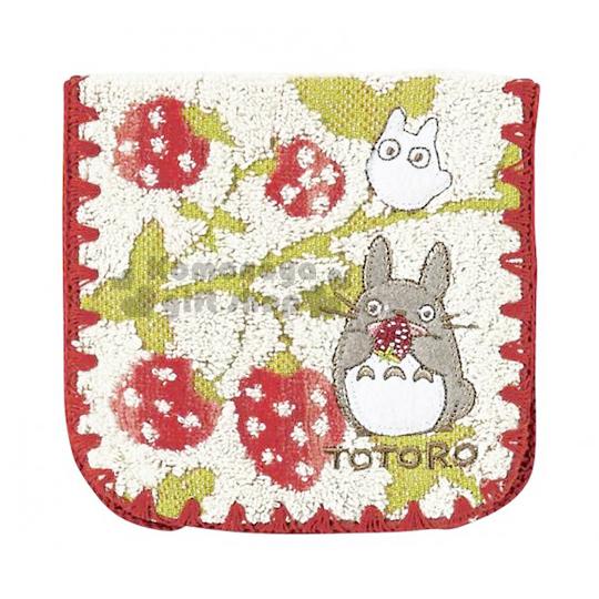 〔小禮堂〕宮崎駿 龍貓 TOTORO 毛巾布收納袋《白.草莓.葉子.紅邊》日本丸真系列