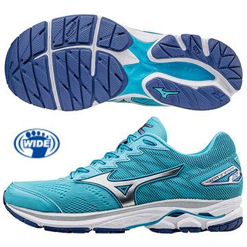 J1GD170603(粉藍X銀白)暢銷鞋款 第20代 WAVE RIDER 20 新雲波浪片 寬楦女慢跑鞋S【美津濃MIZUNO】