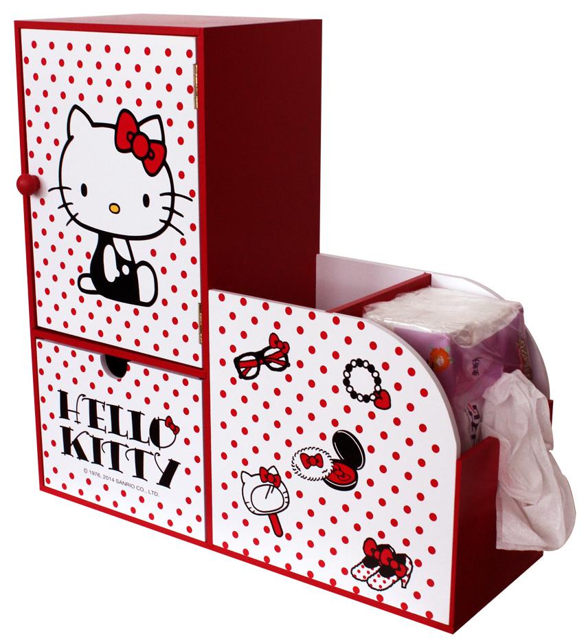 【真愛日本】15061700014 KT單門置物櫃-L型紅點白 三麗鷗 Hello Kitty 凱蒂貓 居家 家具 櫥櫃 收納櫃 正品 限量 預購
