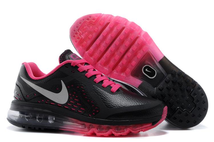 NIKE/耐克 AIR MAX 2014皮面 女生氣墊慢跑鞋 運動休閒鞋(黑桃紅36-39)