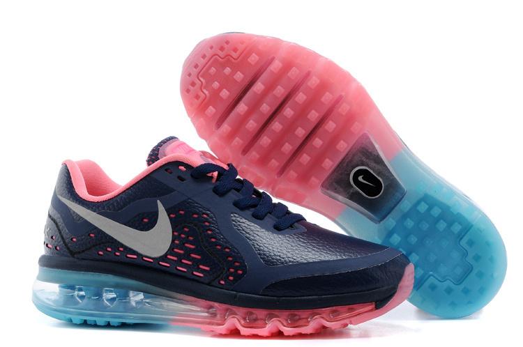 NIKE/耐克 AIR MAX 2014皮面 女生氣墊慢跑鞋 運動休閒鞋(深藍粉36-39)
