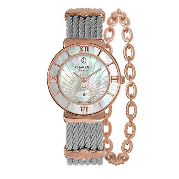 CHARRIOL夏利豪(ST30PI.560.010)玫瑰金太陽紋羅馬小秒針鋼索腕錶/珍珠母貝面30mm