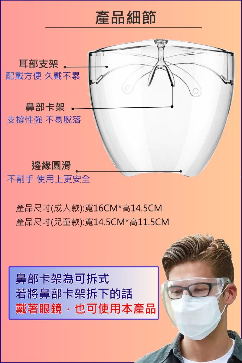 5個免運-台灣現貨【防霧型 全罩式 防護面罩】遠離病毒 防疫面罩 全罩式 護目鏡 加強防護 面罩 保護罩