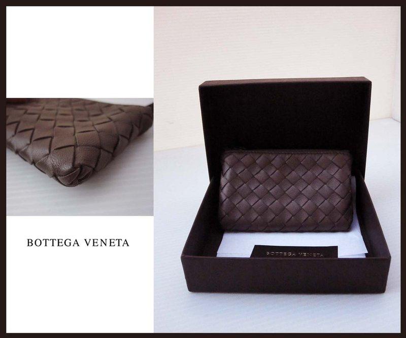 《十九號二手屋》全新BOTTEGA VENETA BV純手工羊皮編織 拉鍊零錢包 大象灰
