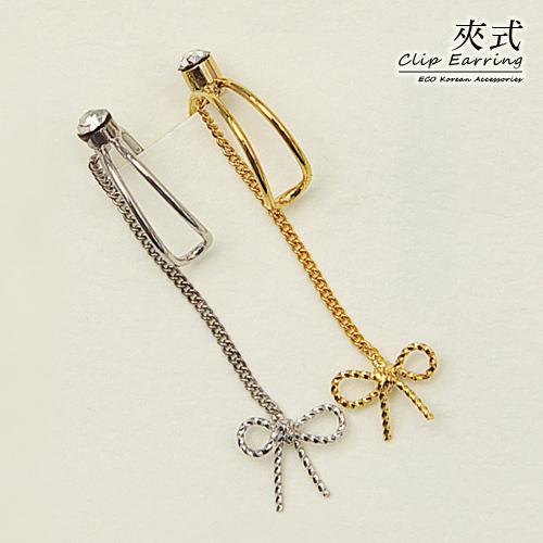 (預購)(特賣)ECO安珂.簡單可愛線圈蝴蝶結 耳骨夾/夾式耳環(2色)【2-1626】