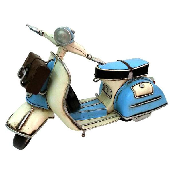 藍色偉士牌 鄉村風 復古風 手工鐵製模型車 環島哈雷重機/腳踏自行車咖啡店裝飾品 民宿/Vespa/經典復古/機車模型