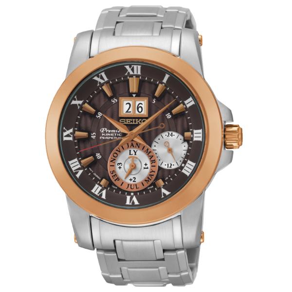 Seiko Premier 7D56-0AB0C(SNP128J1)人動電能萬年曆大視窗日期經典腕錶/咖啡面41mm