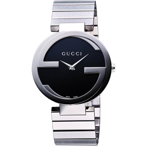 【GUCCI】Interlocking 時尚元素腕錶-黑/37mm(YA133307)