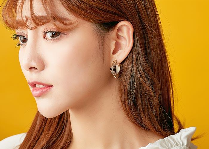 韓國耳環,c圈耳環,垂墜耳環,半月形造型耳環,夾式耳環,耳夾,暈染耳環
