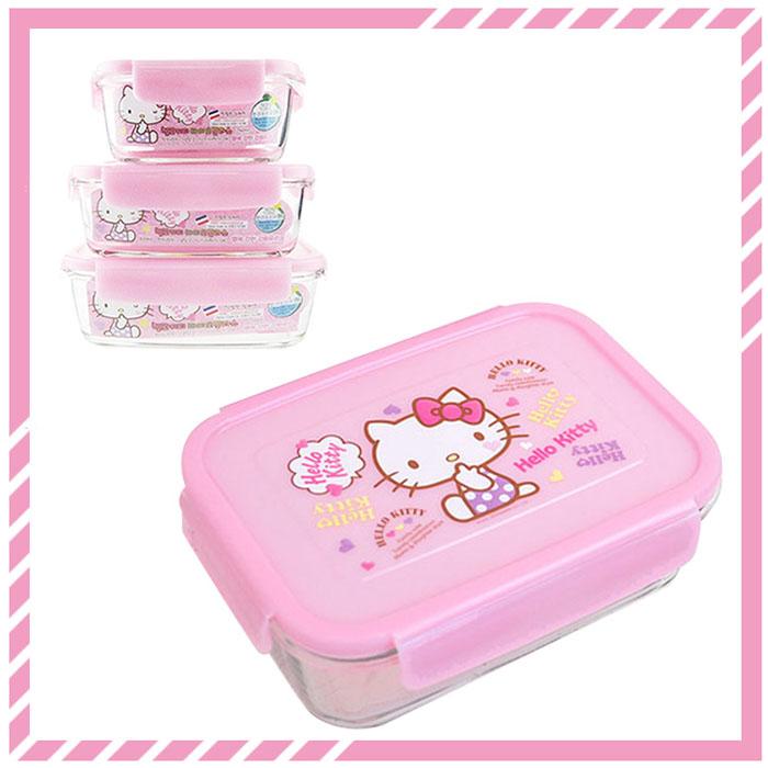 大田倉 韓國進口正版 Sanrio 三麗鷗 凱蒂貓 HELLOKITTY 玻璃樂扣保鮮盒 便當盒 3款