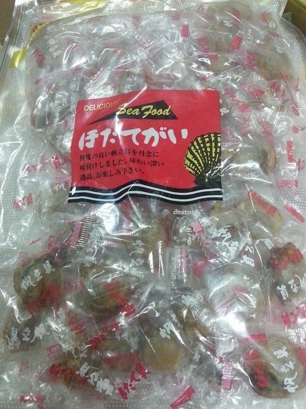 有樂町進口食品 日本北海道 筑中干貝糖 味付帆立貝 500g (原味) 另有辣味甘貝糖