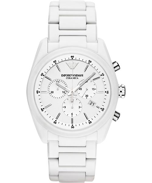 EMPORIO ARMANI/AR1493極限亮白陶計時腕錶/白面42mm
