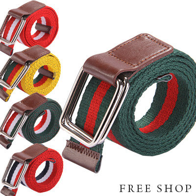 Free Shop【QTJX3005】潮流街頭風格條紋配色接皮革設計百搭雙環釦帆布皮帶‧五色