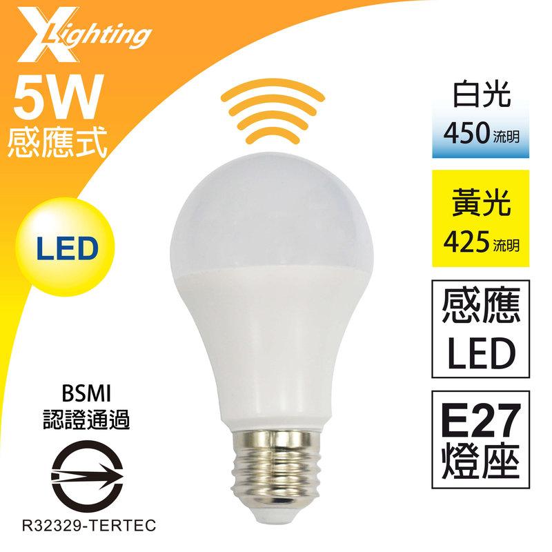 感應式 BSMI 5W LED 燈泡 全電壓 雷達微波 感應燈泡 X-LIGHTING (10W 7W 9W)