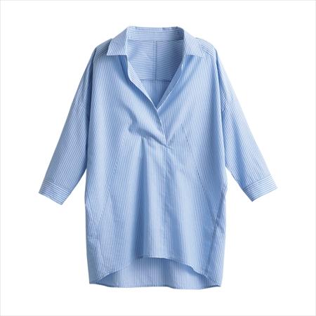 日本空運nissen -女裝-非指定纖維(Lyocell)混紡條紋七分袖大輪廓襯衫-蔚藍色×白色