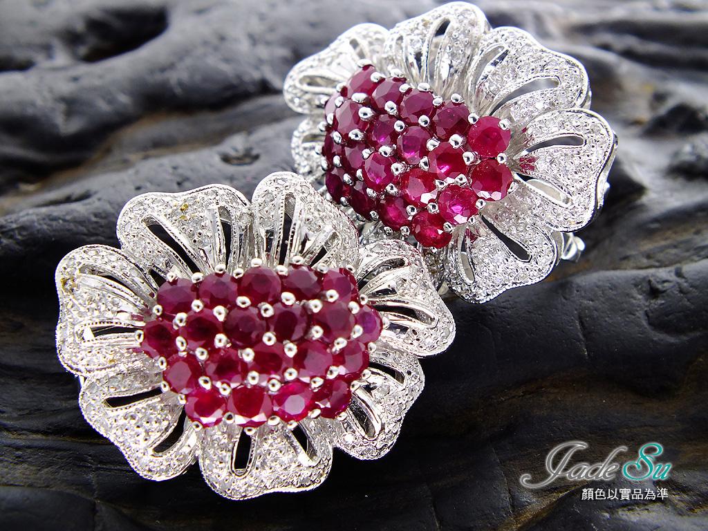 天然紅寶石鑽石耳環\頂級鴿血紅6.40克拉\鑲嵌天然南非鑽石1.38克拉\18白K金鑲台\Jadesu Jewelry