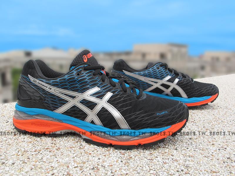 Shoestw【T600N-9993】ASICS 慢跑鞋 GEL NIMBUS18 黑藍橘 亞瑟膠 吸震緩衝 IGS標準