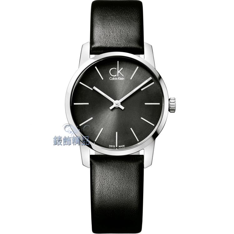 【錶飾精品】CK手錶 CK錶 CK Calvin Klein都會時尚 鐵灰面黑皮帶女錶K2G23107全新原廠正品