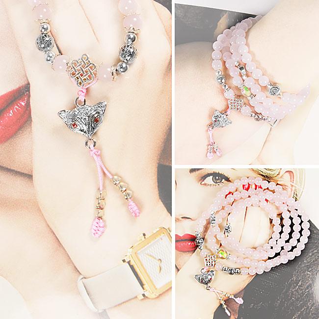 【A1寶石】魅力小狐仙-銀飾粉水晶108念珠-日本限定款-增強魅力、招財開運