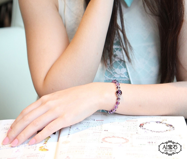 【A1寶石】強力吸金-晶鑽紫水晶-開運招財必備手鍊(含開光加持)