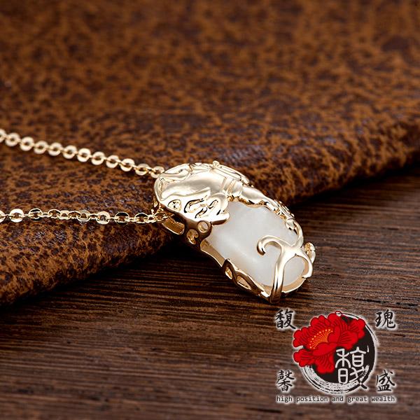 貔貅 香檳金貓眼石貔貅項鍊 錢 鍍銀 水晶 情侶 招財 開運 含開光 馥瑰馨盛