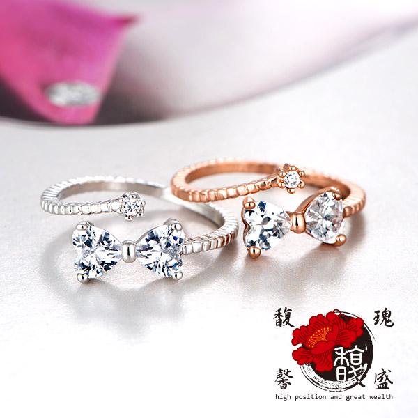 尾戒 玫瑰繽紛桃花戒指 桃花 鍍銀 水晶 人緣 情侶 開運 含開光 馥瑰馨盛
