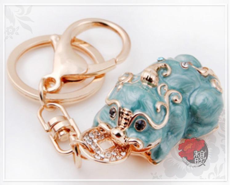 鑰匙扣【金會賺貔貅鑰匙圈】招財 電鍍 吊飾 聚財 現貨 含開光 馥瑰馨盛NS0494