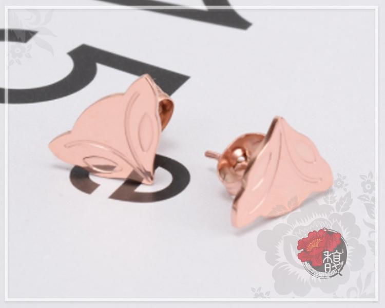 極光雪狐玫瑰金耳環