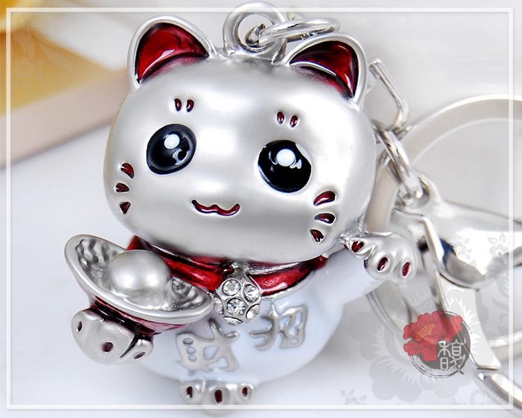 銀元寶招財貓鑰匙圈