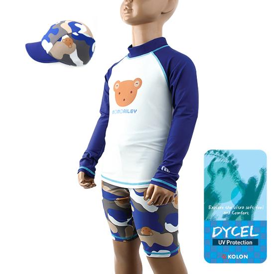 BH397-韓劇童星愛用品牌WINGHOUSE 高檔迷彩小熊三件式長袖防紫外線泳衣 泳裝【韓國原廠正品】抗UV