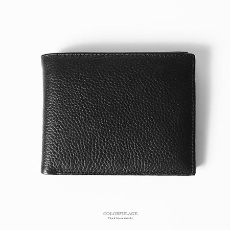 皮夾 極簡黑色真皮橫式二折加長設計短夾中夾 手感極佳 內有多夾層 柒彩年代【NW428】優質內裡